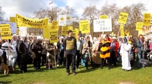 Beekeepers and others Protesting Outside The Houses of Parliament in London